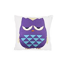 Компактна дитяча бавовняна подушка AJ0030 Совушка Green + Purple 30*30см в ліжечко малюкам