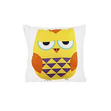 Компактна дитяча бавовняна подушка AJ0030 Совушка Yellow + Orange 30*30см в ліжечко малюкам
