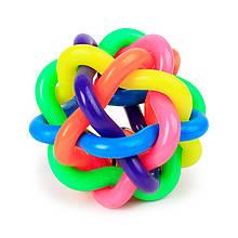 Іграшка м'яч для собак Pipitao 061111 D:9,0 см Multi Color гумовий плетений