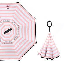 Зонт парасольку Up-Brella Рожево-білі смуги тренд сезону подвійний купол водовідштовхувальна просочення ергономічна