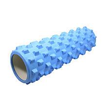 Масажний фітнес валик ролик Dobetters Rumble Roller Blue для йоги та фітнесу 45*15 см