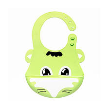 Lb Детский нагрудник-слюнявчик CUMENSS Лиса Green 280*210 мм силиконовый с карманом