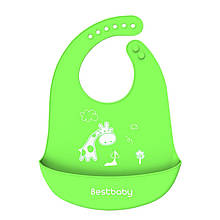 Lb Нагрудник детский Bestbaby BS-8807 Жираф Green слюнявчик силиконовый с карманом для малышей