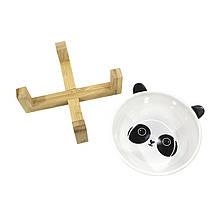 Миска поїлка годівниця для котів і собак Taotaopets 115505 Панда керамічна на дерев'яній підставці