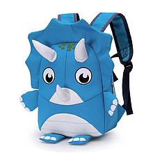 Дошкільний рюкзак рюкзачок Cute Triceratops 293 Blue з ремінцем анти-потеряшкой дитячий для прогулянок