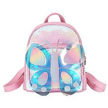 Дитячий рюкзак рюкзачок Butterfly 0817 Рожеві паєтки для дівчаток прогулянки садка
