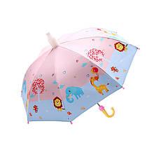 Дитячий парасольку парасольку QY2011301 Funny Animals Pink тростина автоматичний з пластиковим чохлом