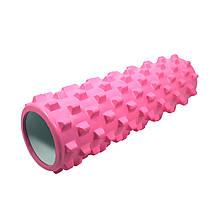Масажний фітнес валик ролик Dobetters Rumble Roller Pink для йоги та фітнесу 45*15 см