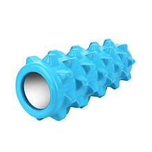 Масажний фітнес валик ролик Dobetters Grid Roller Blue 33*12 см для м'язів всього тіла масажер (спина, руки,