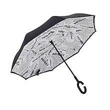 Зонт парасольку Up-Brella Газета Біла подвійний парасолька зворотне складання довга ручка міцна тканина
