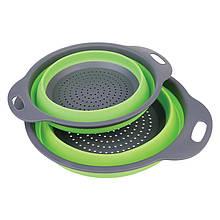 Lb Дуршлаг силиконовый Cumenss Green большой + маленький складной 180 и 240 мм для слива воды с макарон