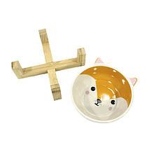 Миска поїлка годівниця для котів і собак Taotaopets 115505 Лисиця керамічна на дерев'яній підставці