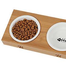 Миска поїлка годівниця для котів і собак Taotaopets 111108 на дерев'яній підставці