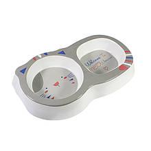 Миска поїлка годівниця для котів і собак подвійна Taotaopets 115506 Grey пластикова