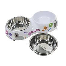 Миска поїлка годівниця для котів і собак Taotaopets WZ-1010 подвійна 26*13.5*4.5 Мікс
