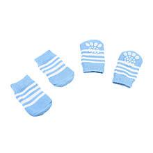 Антиковзні шкарпетки для собак Taotaopets 331 Білі Смуги S бавовняні