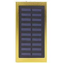 Зовнішній акумулятор Solar Water Cube 20000 mAh Gold зарядний для телефонів dual USB сонячна батарея