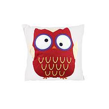 Компактна дитяча бавовняна подушка AJ0030 Совушка Red + Beige 30*30см в ліжечко малюкам