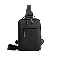 Lb Рюкзак-сумка однолямочный  LP-060 Black повседневная на одно плечо нагрудная для зарядки USB