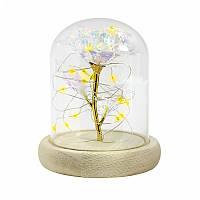 /\ Роза в стеклянной колбе 24К KY-1645 с LED подсветкой Теплый свет светящаяся подарок для девушки