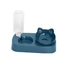 Миска поїлка кормушка для котов з поїлкою Taotaopets 119906 Indigo 22*28,2*14,5 см