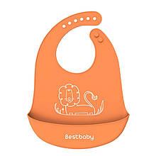Lb Нагрудник детский Bestbaby BS-8807 Лев Orange слюнявчик силиконовый с карманом для малышей