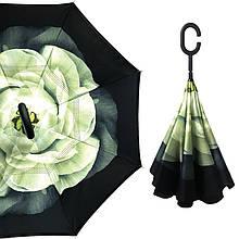 Зонт парасольку тростину Up-Brella Біла Гарденія механічний розумний антизонт зворотного складання