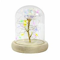 /\ Роза в стеклянной колбе 24К KY-1645 с LED подсветкой Цветной свет светящаяся подарок для девушки