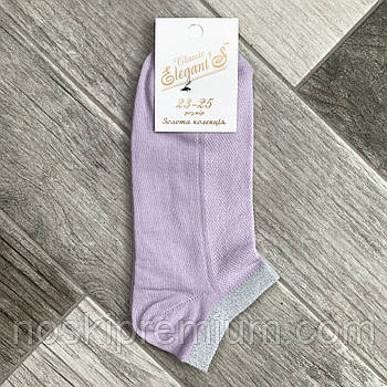 Носки женские короткие хлопок с сеткой люрекс Элегант, 23-25 размер, сиреневые, 01744