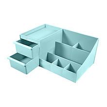 Органайзер пластиковий 2020 Blue настільний для косметики прикрас канцелярії 28*16.8*12cm