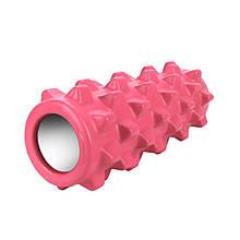 Масажний фітнес валик ролик Dobetters Grid Roller Pink 33*12 см для м'язів всього тіла масажер (спина, руки,