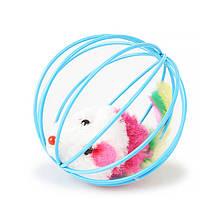 Іграшка для котів Taotaopets 012209 Blue 6см миша в кулі