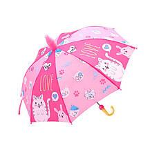 Дитячий парасольку парасольку QY2011301 Cat Love (кошенята) тростина для дітей автоматичний з пластиковим чохлом