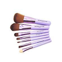 Lb Набор кистей кисточек с ворсом BIOAQUA Make UP Beauty в металлическом футляре Павлин Фиолетовый 7 шт