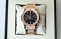 Наручний годинник Hublot Fusion Steel Gold AAA чоловічі кварцові з хронографом на сталевому браслеті з датою