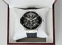 Наручные часы Hublot Big Bang Silver AAA кварцевые мужские с хронографом на каучуковом ремешке и сапфиром