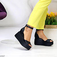"""Женские кожаные босоножки на платформе Черные """"Linda"""", фото 1"""