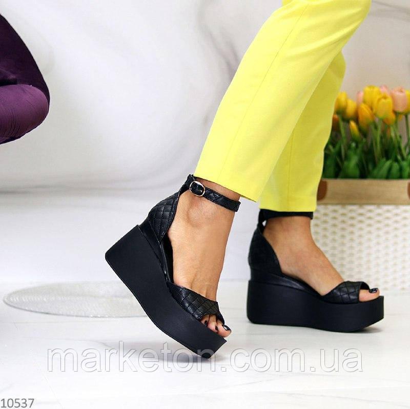 """Женские кожаные босоножки на платформе Черные """"Linda"""""""