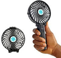 Портативний міні вентилятор акумуляторний Handy Fan Mini USB з ручкою Black, фото 1