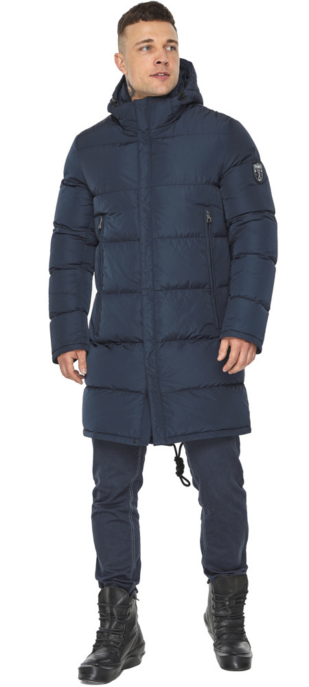 Мужская куртка на молнии зимняя тёмно-синяя модель 49438