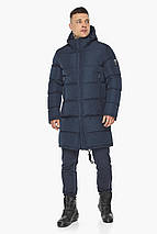 Мужская куртка на молнии зимняя тёмно-синяя модель 49438, фото 2