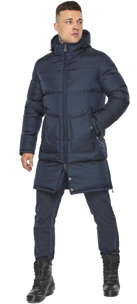 Мужская куртка фирменная зимняя тёмно-синяя модель 49880