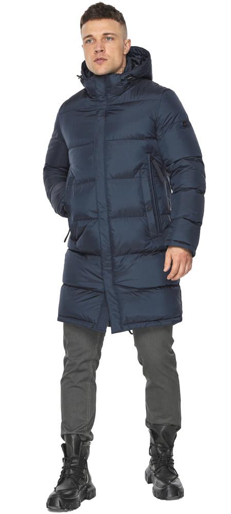 Современная куртка для мужчин на зиму тёмно-синяя модель 49773