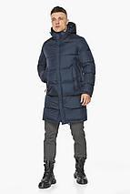 Современная куртка для мужчин на зиму тёмно-синяя модель 49773, фото 2