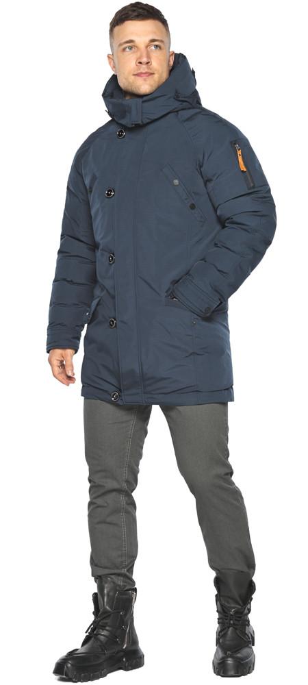 Куртка – воздуховик графітово-синій для чоловіків на зиму модель 30707