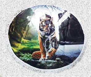 """Стильний крутий килимок підстилка кругле пляжний рушник з бахромою """"Тигр"""", розмір 150 см"""