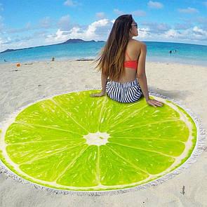 """Яскравий стильний річний круглий пляжний килимок рушник підстилка """"Лайм"""""""