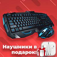 Проводная клавиатура с подсветкой + мышка V-100P комплект геймерский, игровой набор для ПК
