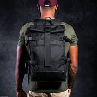 Рюкзак мужской спортивный городской черный, мужской рюкзак городской для ноутбука,рюкзак роллтоп черный