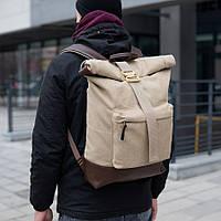Рюкзак мужской городской спортивный коричневый, мужской рюкзак городской для ноутбука, рюкзак роллтоп песочный